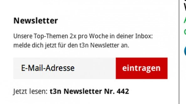 Call to Action: Besucher sollten sich schnell und unkompliziert für euren Newsletter eintragen können. (Screenshot: t3n)