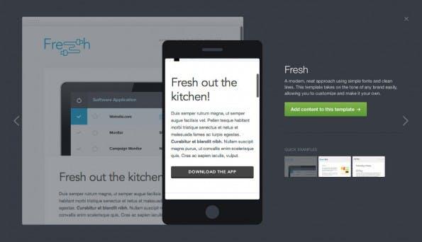 Canvas: Dank vorgefertigter Templates und Drag-and-Drop-Bedienung lassen sich schnell ansprechende E-Mails erstellen. (Screenshot: Campaign Monitor)