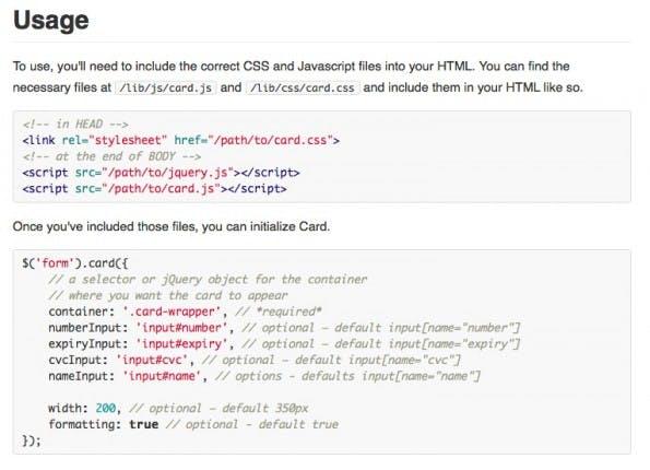 So funktioniert der Einsatz von Card: Der Weg zum animierten Kreditkarten-Formular. (Screenshot: Github/card)