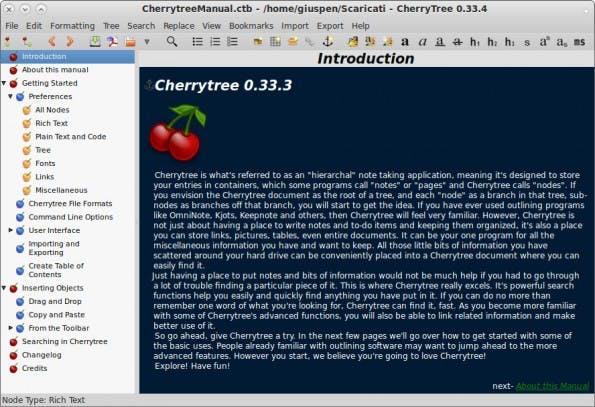 Content Marketing: Cherrytree eignet sich hervorragend zum Erfassen und Organisieren von Notizen. (Screenshot: Cherrytree)