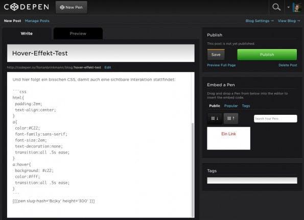 So sieht ein kleiner Beispielartikel im CodePen-Editor aus. (Screenshot: CodePen)