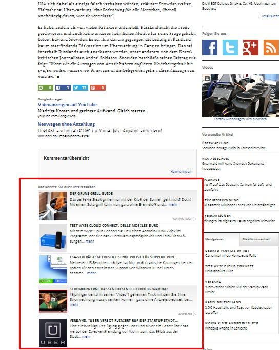 Die plista-Anzeigen auf Golem.de. (Screenshot: golem.de)