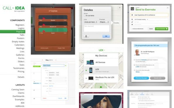 Design-Inspirationen für Popups auf Call to Idea. (Screnshot: Call to Idea)
