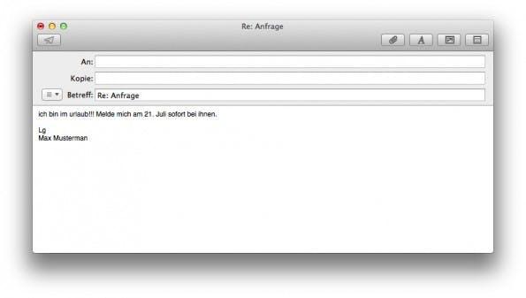 So sollte es nicht aussehen: Auch die Abwesenheitsnotiz gehört zur geschäftlichen Korrespondenz. (Screenshot: t3n)