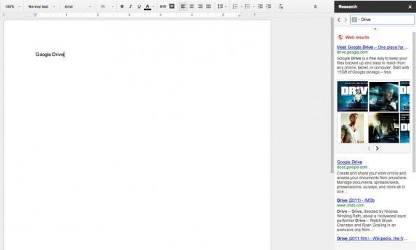 Google Drive kann auch bei der Recherche und beim Zitieren helfen. (Screenshot: Google Drive)