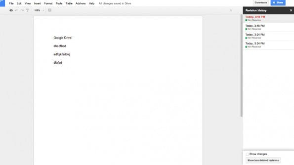 Google Drive: So seht ihr, was bisher bearbeitet wurde. (Screenshot: Google Drive)