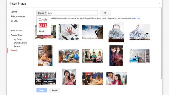 Google Drive bietet eine integrierte Stockfoto-Suche. (Screenshot: Google Drive)