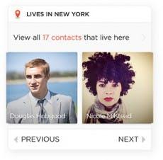 Humin zeigt beispielsweise alle Kontakte aus einer bestimmten Stadt an. (Screenshot: Humin)