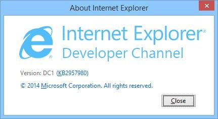 """Der """"Internet Explorer Developer Channel"""" trägt die Versionsnummer DC1. (Quelle: winsupersite.com)"""