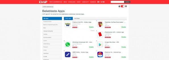 Bei Chip Online findet ihr kostenlose und kostenpflichtige Android-Apps. (Screenshot: Chip.de)
