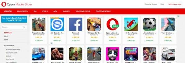 Auch der Browser-Hersteller Opera bietet Android-Apps an. (Screenshot: Opera)