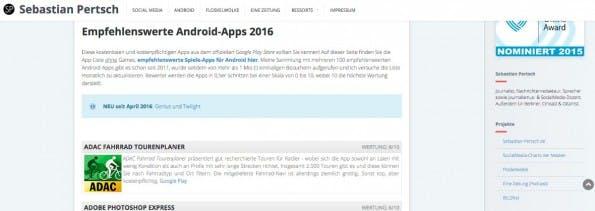 Ebenfalls eine schönen Quelle für interessante Android-Apps. (Screenshot: Rockbär.de)