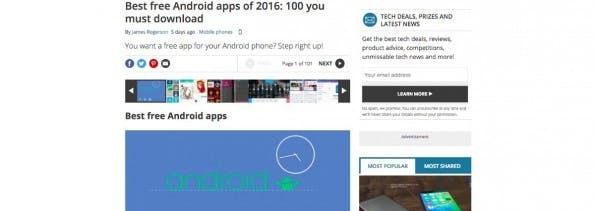 Kostenlose Android-Apps: Techradar versammelt einige der interessantesten Apps für die Android-Plattform. (Screenshot: Techradar)