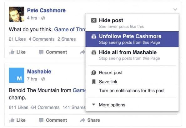 Newsfeed sortieren: Unfollow. (Screenshot: Facebook)