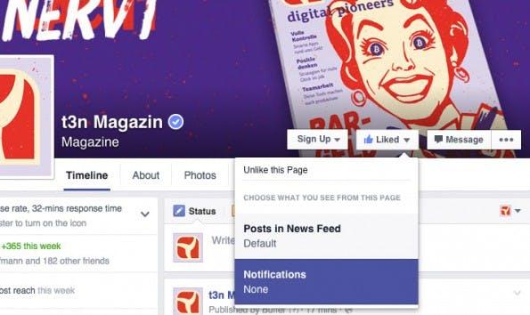 Newsfeed sortieren: Benachrichtigungen erhalten. (Screenshot: Facebook)