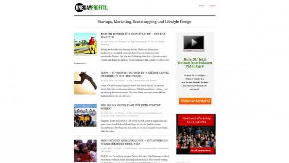 t3n-Blogperlen Startups #9: Onedayprofits. (Screenshot: t3n)