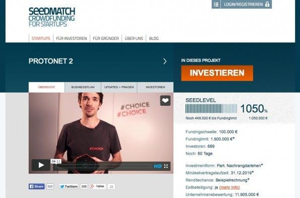 Im Sommer 2014 sammelte Protonet über eine Crowdinvesting-Kampagne bei Seedmatch drei Millionen Euro ein. Nach dem Einstieg von Y Combinator zeigen sich Kleinanleger allerdings besorgt. (Screenshot: Seedmatch)