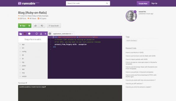 Runnable erlaubt die Ausführung von Codebeispielen direkt im Browser. (Screenshot: Runnable)