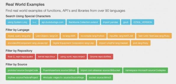 Die verschiedenen Filtermöglichkeiten inklusive Beispiele sind auf der Startseite von searchcode zu finden. (Screenshot: searchcode)
