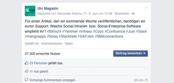 Gut angenommen: Unsere Vor-Umfrage auf Facebook zu Social-Intranet-Tools. (Screenshot: Facebook)
