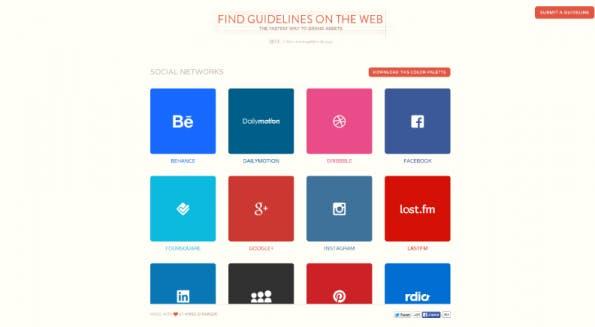 Auf der Webseite Findguidelin.es finden sich über 30 Styleguides bekannter Internetfirmen. Darunter Facebook, Soundcloud und Twitter. (Screenshot: t3n)