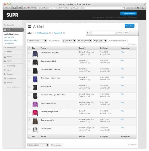 Die Artikelpflege im Backend. (Screenshot: SUPR)