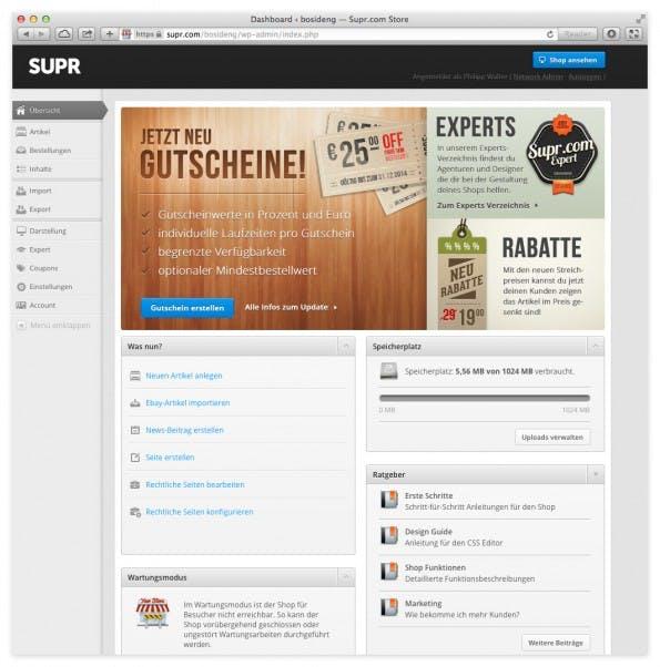 Die Benutzeroberfläche des Backends besteht aus einer stark modifizierten Wordpress-Version. (Screenshot: SUPR)
