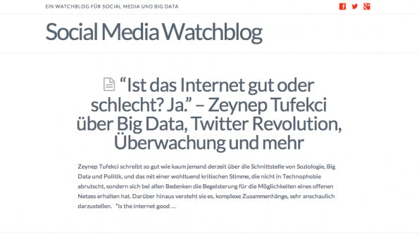"t3n-Blogperlen – Social Media #10: ""Social Media Watchblog""."