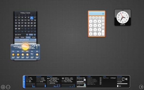 """Wer das Dashboard von OS X nicht nutzt und an einem älteren Rechner sitzt, könnte sich dafür interessieren, das Dashboard einfach abzuschalten, um ein wenig mehr Speicher frei zu machen. Das Ganze lässt sich mit folgendem Kommando erreichen: """"defaults write com.apple.dashboard mcx-disabled -boolean YES""""."""