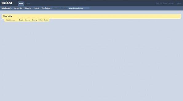 Content Marketing: Wridea ist ein einfaches Werkzeug zum Ideen-Management. (Screenshot: Wridea)