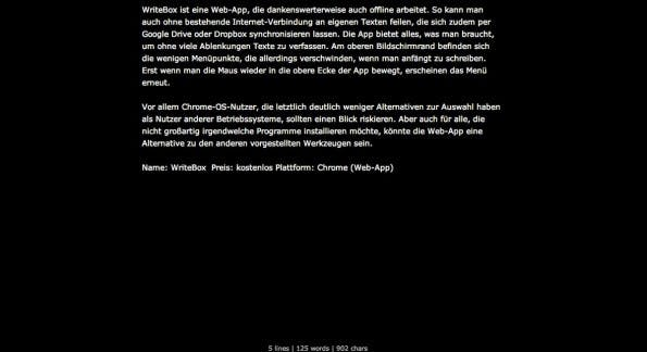 Content Marketing: WriteBox ermöglicht ablenkungsfreies Schreiben im Browser. (Screenshot: WriteBox)