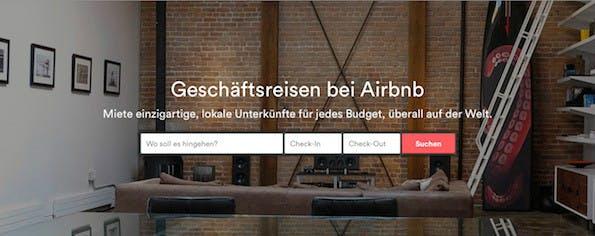 Airbnb: Neues Portal für Geschäftsreisen (Screenshot: Airbnb.de)