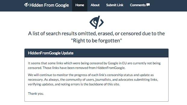 Digitales Vergessen: HiddenFromGoogle.com archiviert gelöschte Artikel aus der Google-Suche