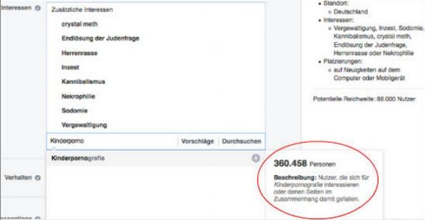 """Facebook akzeptiert Werbefilter wie """"Kinderpornografie, """"Inzest"""" oder """"Vergewaltigung"""". (Screenshot: onlinemarketingrockstars.de)"""