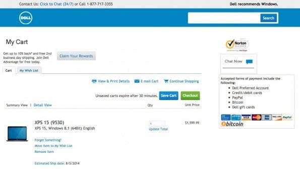 Dell setzt jetzt auch auf Bitcoin. (Screenshot: Dell)