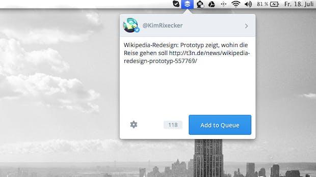 Buffer für OS X: Erste Version des Social-Media-Tools geizt mit Features
