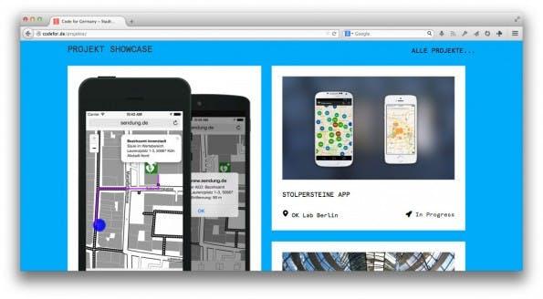Code for Germany: Gemeinsam an Open-Data-Projekten arbeiten. (Screenshot: Code for Germany)