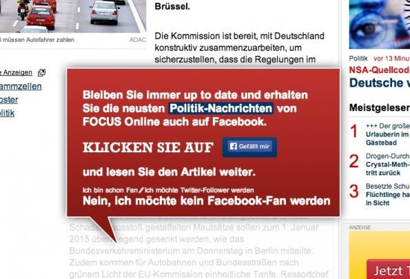Pop-up auf Focus Online. (Screenshot: focus.de)