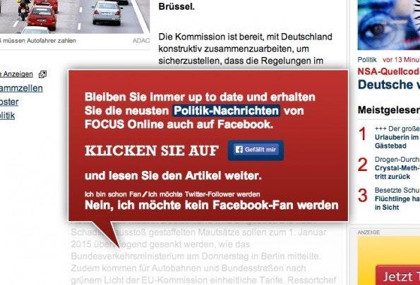 Pop-up auf Focus Online. (Screenshot: focus.de)