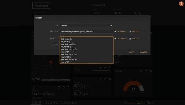 Freeboard: Die Erstellung eigener Dashboards geht mit Freeboard schnell von der Hand. (Screenshot: Freeboard.io)