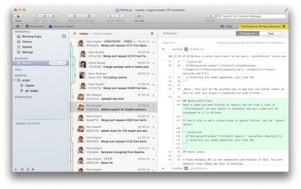 Tower 2: Der Git-Client macht die Arbeit mit der Versionsverwaltungssoftware komfortabler. (Screenshot: t3n)
