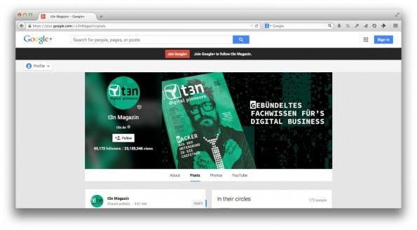 Google+: Das Social-Network verzichtet ab sofort auf die Klarnamenpflicht. (Screenshot: t3n Magazin / Google+)