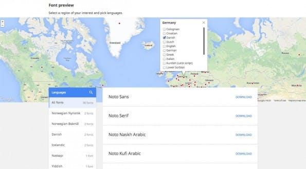 Google: Die Noto-Website macht die Auswahl der benötigten Sprachen einfach. (Screenshot: Google)