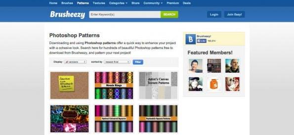 Brusheezy bietet neben anderen Ressourcen auch kostenlose Muster an. (Screenshot: Brusheezy)