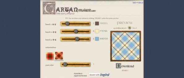 Tartanmaker ist das perfekte Tool für Fans des Schottenmusters. (Screenshot: Tartanmaker)