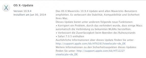 Der Changelog von Apple Mac OS 10.9.4 ist überschaubar. Hauptsächlich wird ein WLAN-Bug adressiert. (Screenshot: App Store)