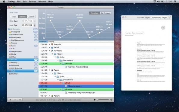 Timing setzt auf automatisches Time-Tracking im Hintergrund. (Bild: Timing)
