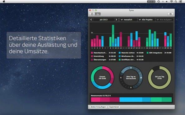Die Zeiterfassungs-App Tyme integriert sich vorbildlich in die Menüleiste des Betriebssystems. (Bild: Tyme)