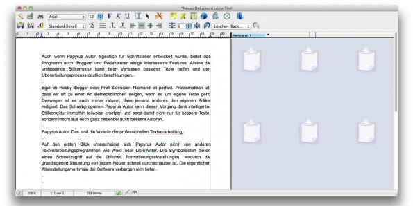 Papyrus Autor: Die Texverarbeitung richtet sich an Schriftsteller und Sachbuchautoren und bietet einige spannende Features. (Screenshot: t3n)