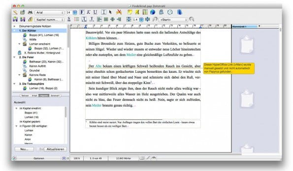 Papyrus Autor: Auch durch längere Texte könnt ihr einfach navigieren und be bedarf zusätzliche Metadaten zu einzelnen Abschnitten hinterlegen. (Screenshot: t3n / Papyrus Autor)